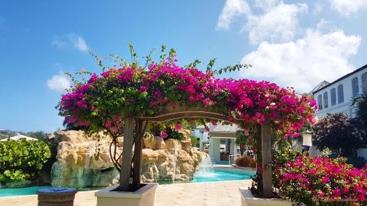 A beautiful flower-filled trellis at Sandals La Toc, St. Lucia