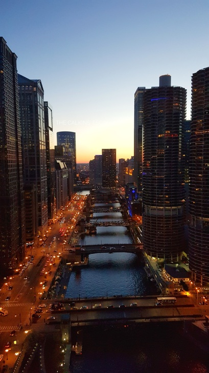 Looking down the Chicago River from our hotel room at the Wyndham